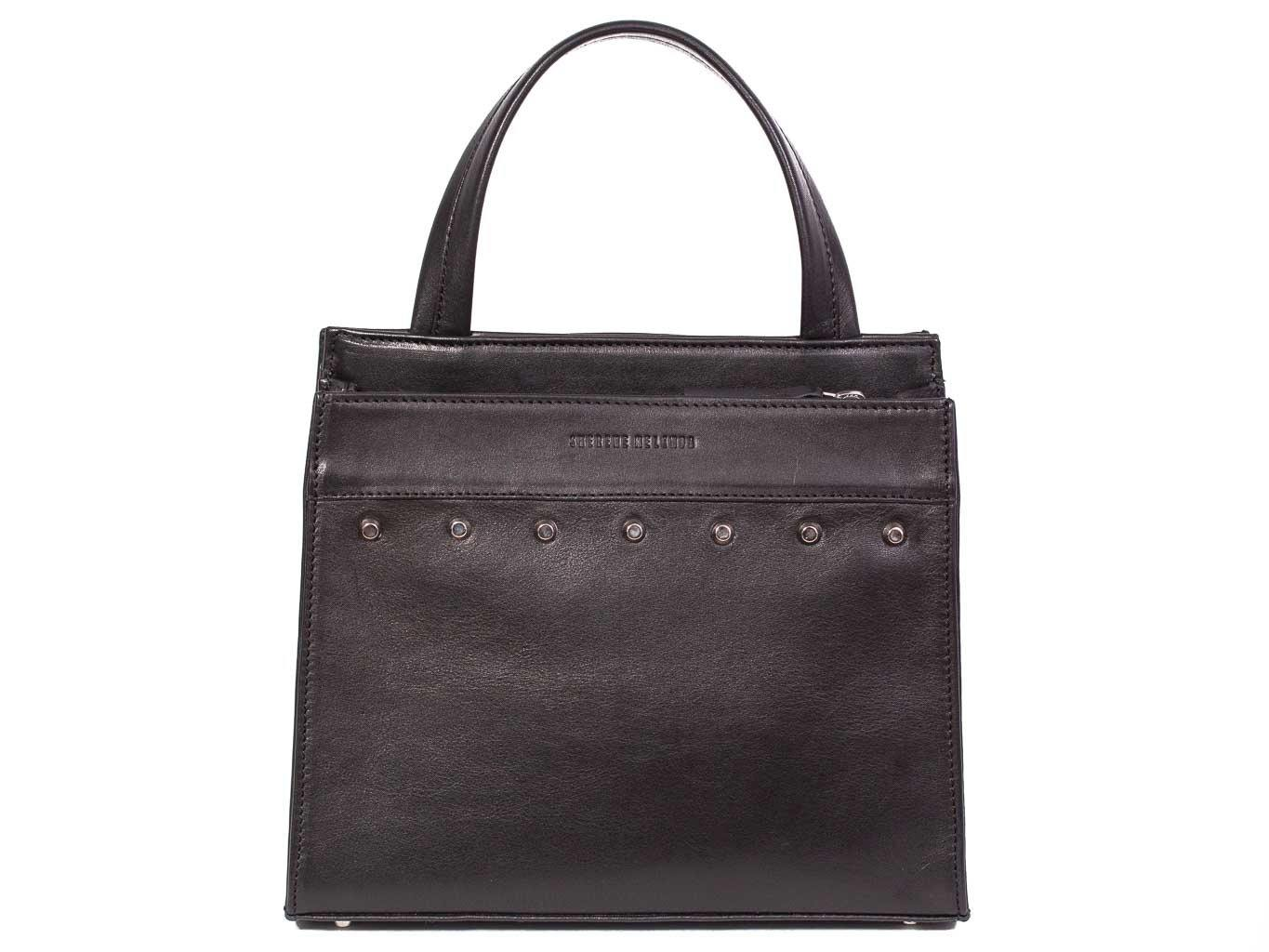 Top Handle Studded Handbag in Black by Sherene Melinda