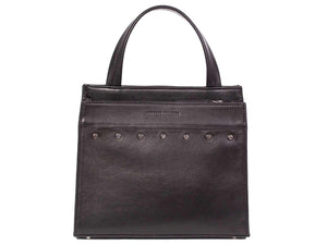 Top Handle Studded Handbag in Black by Sherene Melinda front