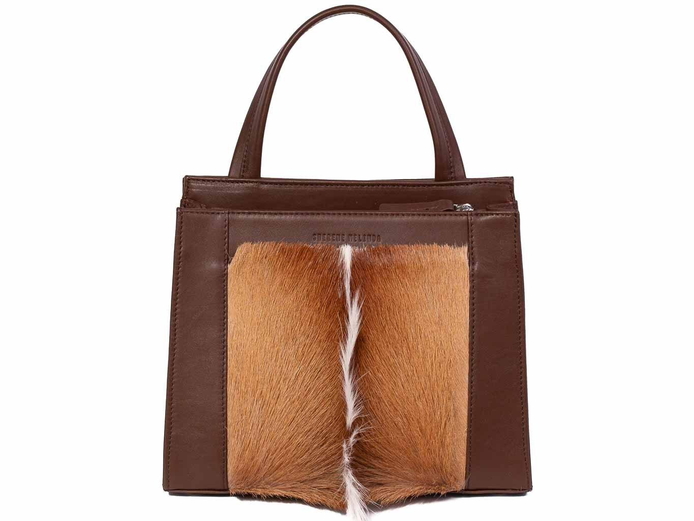 Top Handle Springbok Handbag in Cocoa Brown with a fan feature by Sherene Melinda front