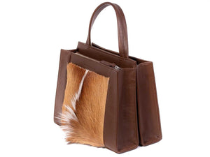 Top Handle Springbok Handbag in Cocoa Brown with a fan feature by Sherene Melinda side angle