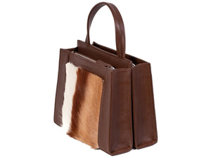 Top Handle Springbok Handbag in Cocoa Brown with a stripe feature by Sherene Melinda side angle