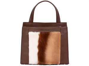 Top Handle Springbok Handbag in Cocoa Brown with a stripe feature by Sherene Melinda front