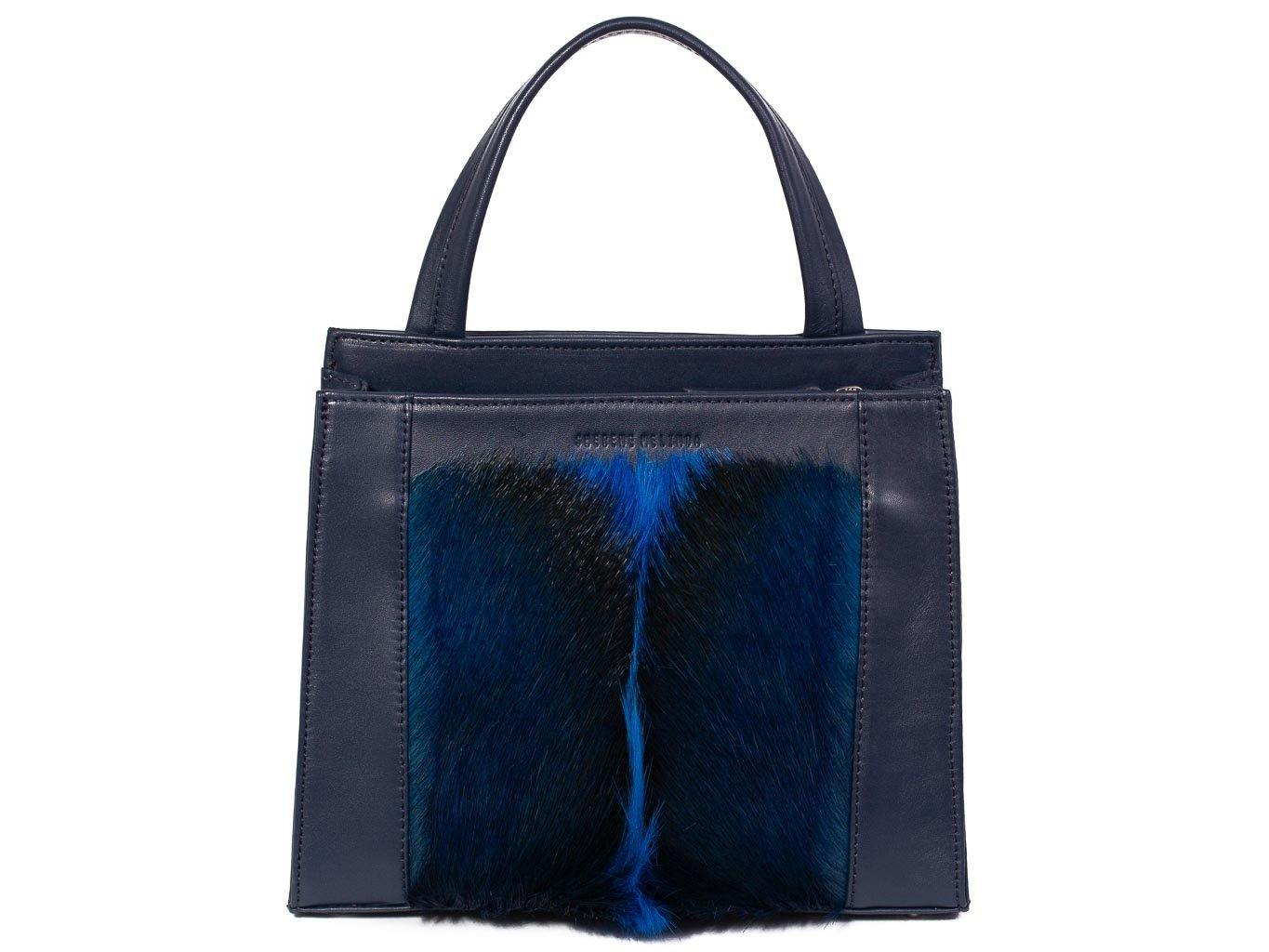 Top Handle Springbok Handbag in Navy Blue with a fan feature by Sherene Melinda front