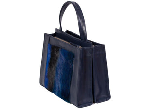 Top Handle Springbok Handbag in Navy Blue with a stripe feature by Sherene Melinda side angle
