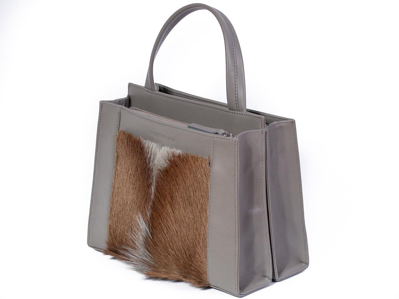 Top Handle Springbok Handbag in Slate Grey with a fan feature by Sherene Melinda front