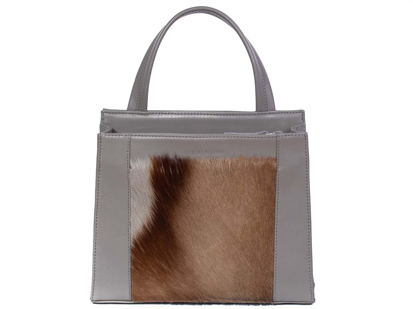 Top Handle Springbok Handbag in Slate Grey with a stripe feature by Sherene Melinda front