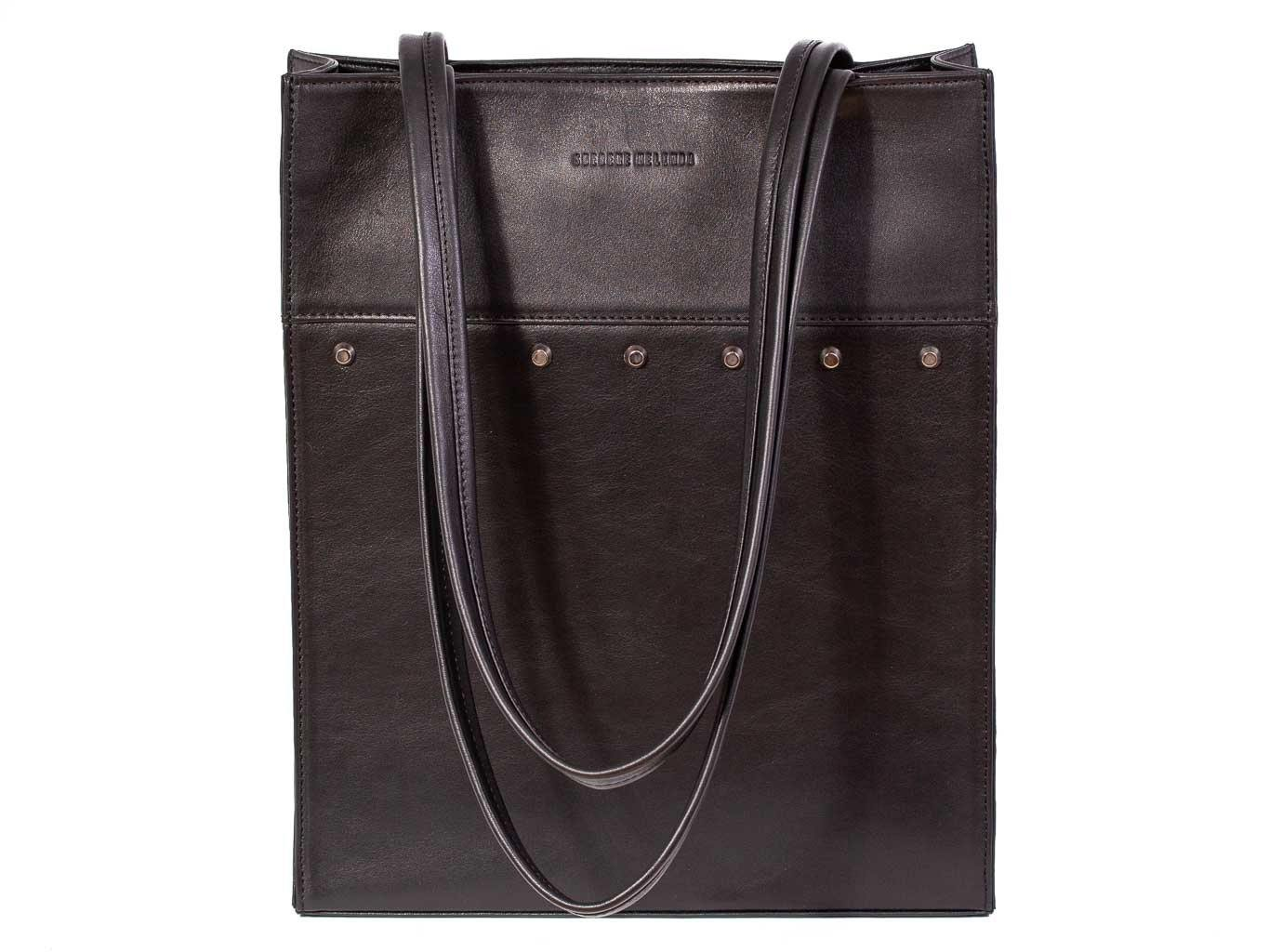 Tote Studded Handbag in Black by Sherene Melinda front handle