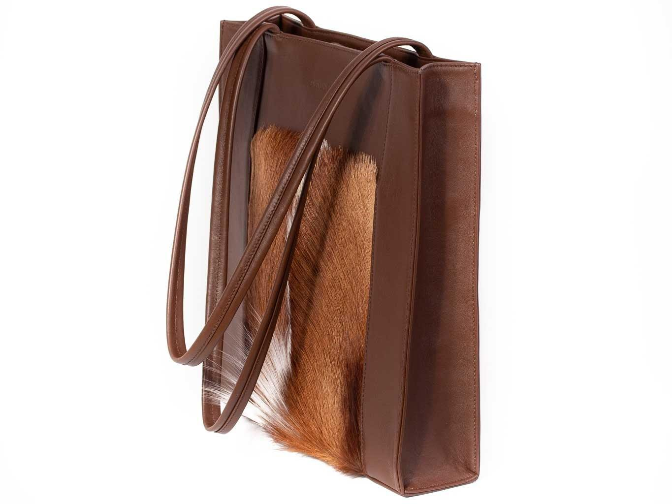 Tote Springbok Handbag in Cocoa Brown with a fan feature by Sherene Melinda front handle