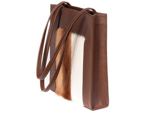 Tote Springbok Handbag in Cocoa Brown with a stripe feature by Sherene Melinda side angle strap