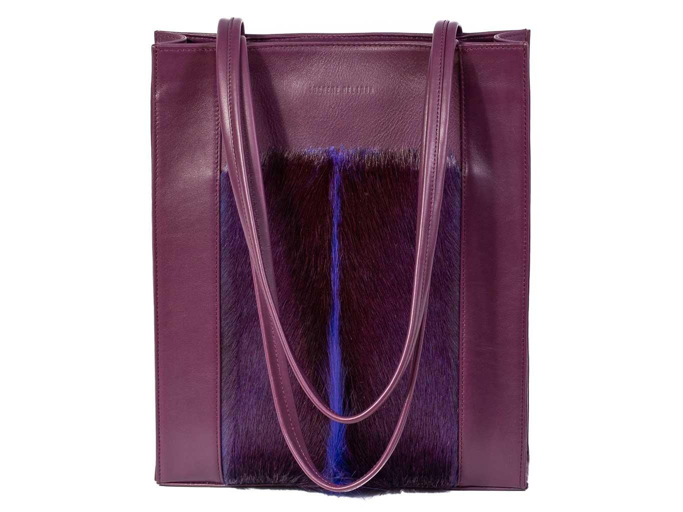 Tote Springbok Handbag in Deep Purple with a fan feature by Sherene Melinda front handle