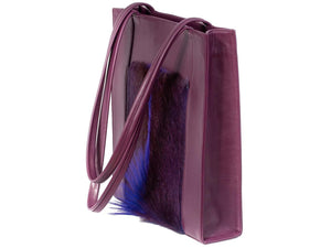 Tote Springbok Handbag in Deep Purple with a fan feature by Sherene Melinda side angle strap