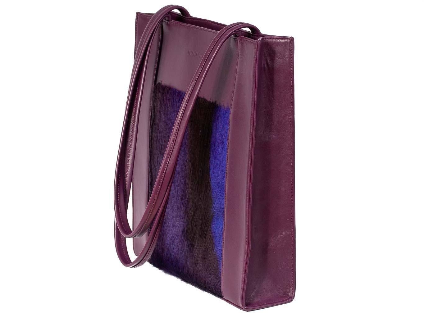 Tote Springbok Handbag in Deep Purple with a stripe feature by Sherene Melinda front handle