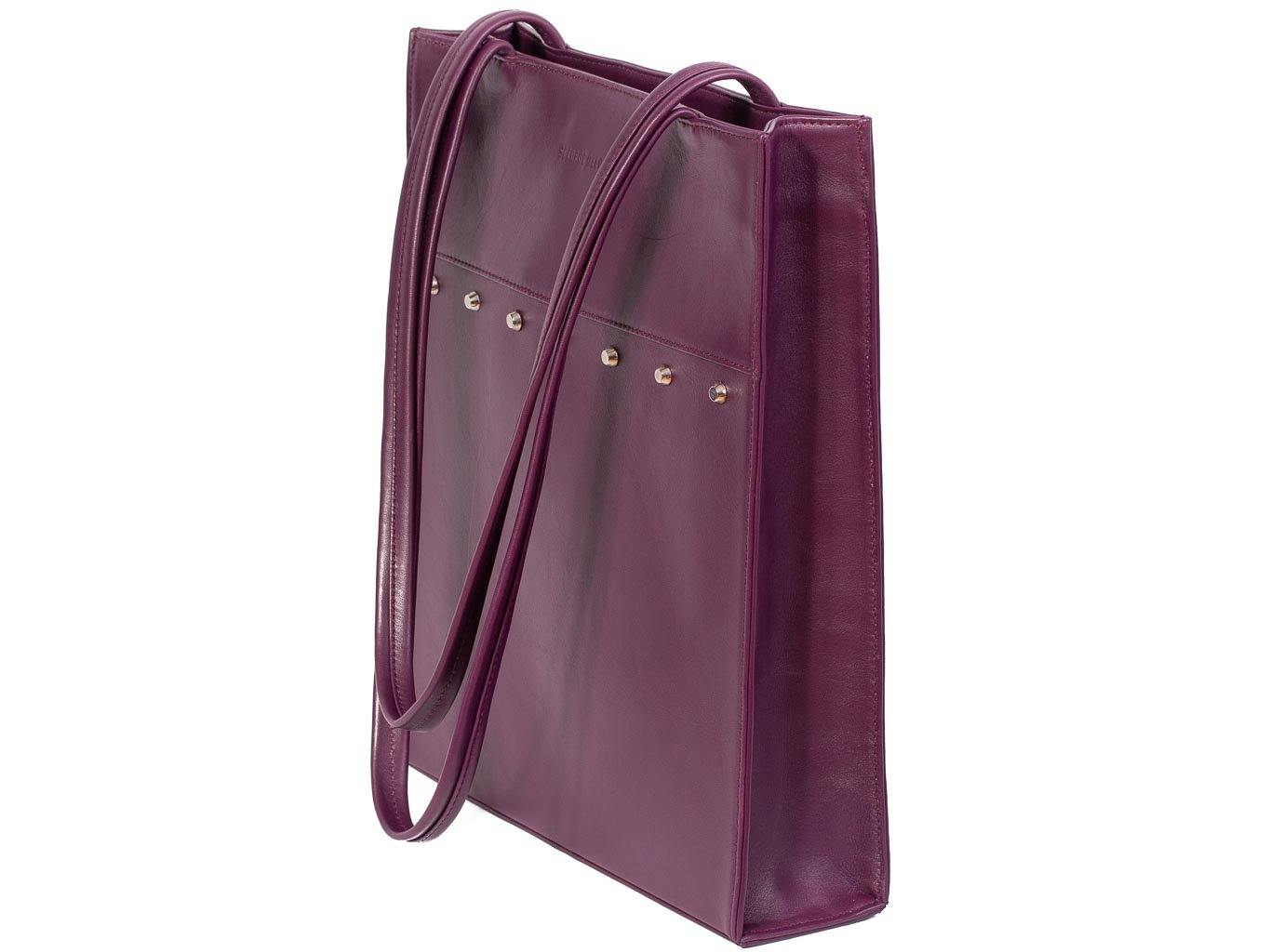 Tote Studded Handbag in Deep Purple by Sherene Melinda side angle strap