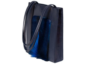 Tote Springbok Handbag in Navy Blue with a fan feature by Sherene Melinda angle strap