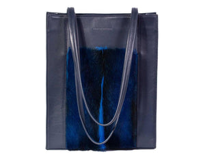Tote Springbok Handbag in Navy Blue with a fan feature by Sherene Melinda front handle
