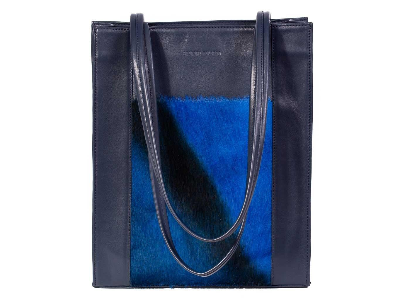 Tote Springbok Handbag in Navy Blue with a stripe feature by Sherene Melinda front handle