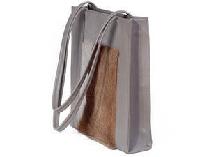Tote Springbok Handbag in Slate Grey with a stripe feature by Sherene Melinda side angle strap