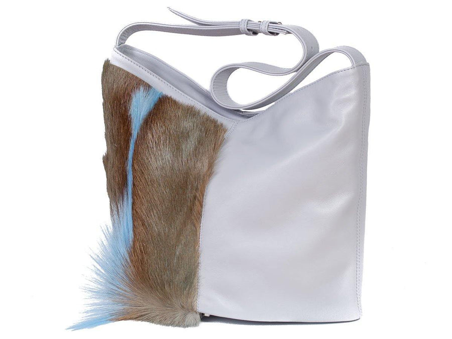 Hobo Springbok Handbag in Baby Blue with a Fan by Sherene Melinda Fan Front