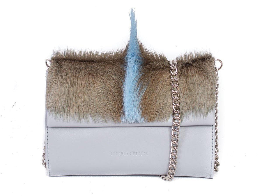 Mini Springbok Handbag in Baby Blue with a Fan by Sherene Melinda Side Angle Strap