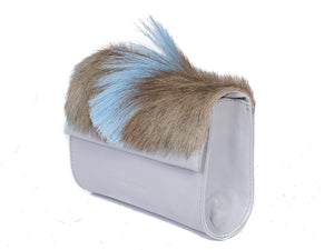 Mini Springbok Handbag in Baby Blue with a Fan by Sherene Melinda Side Angle