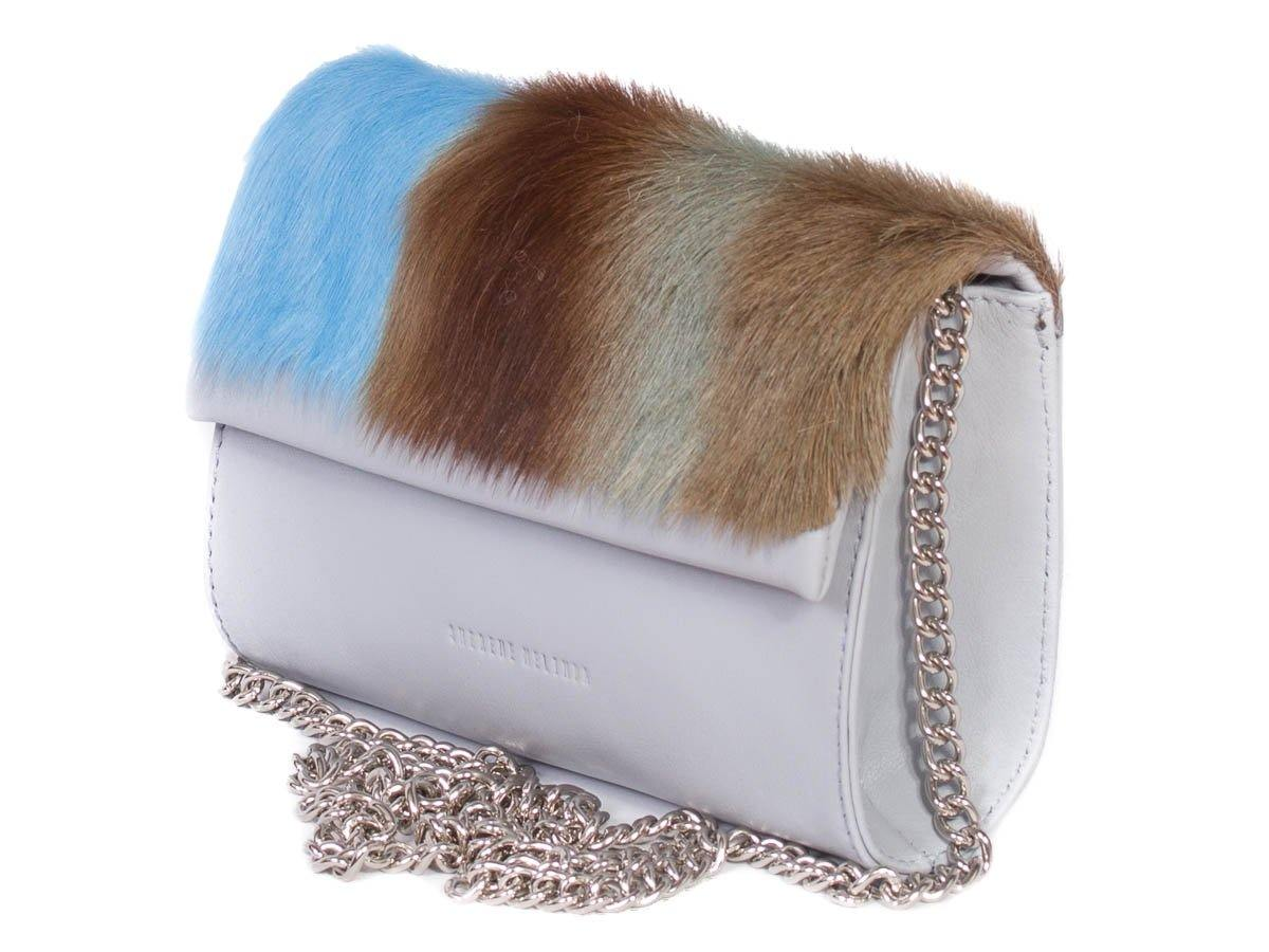 Mini Springbok Handbag in Baby Blue with a Stripe by Sherene Melinda Side Angle Strap