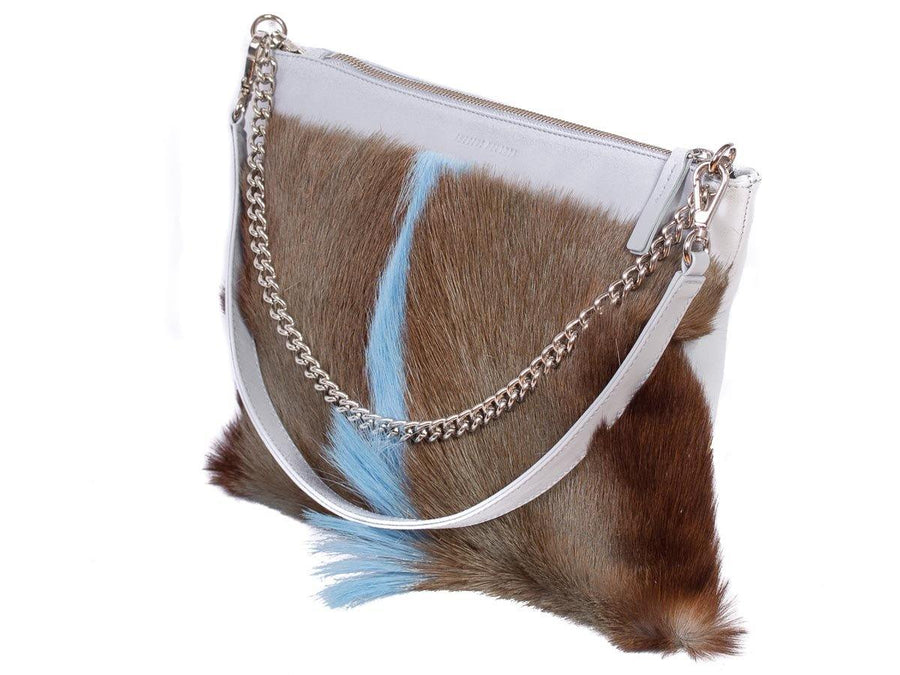 Multiway Springbok Handbag in Baby Blue with a Fan by Sherene Melinda Front Strap