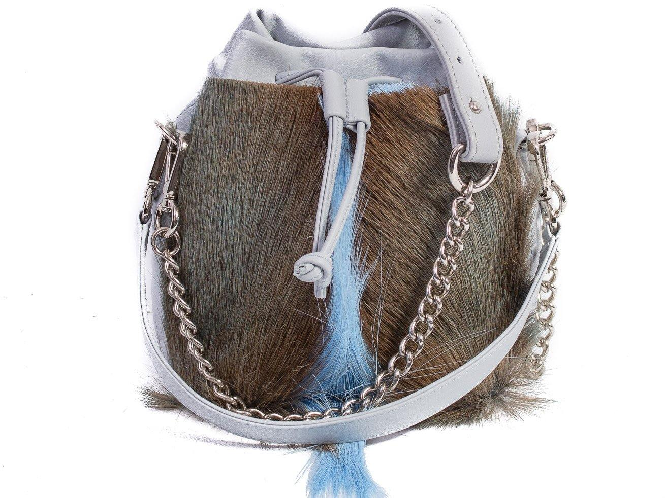 sherene melinda springbok hair-on-hide baby blue leather pouch bag fan front strap