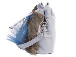 sherene melinda springbok hair-on-hide baby blue leather pouch bag Fan side