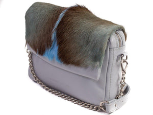 sherene melinda springbok hair-on-hide baby blue leather shoulder bag Fan side angle strap