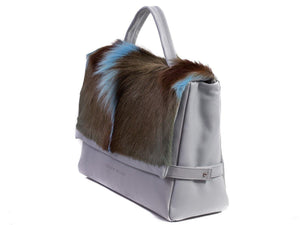 sherene melinda springbok hair-on-hide baby blue leather smith tote bag Fan side angle
