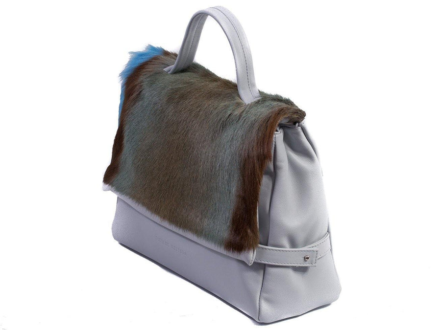 sherene melinda springbok hair-on-hide baby blue leather smith tote bag stripe front