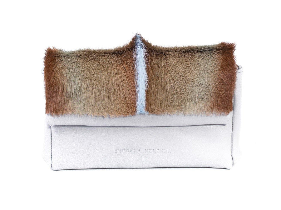sherene melinda springbok hair-on-hide baby blue leather Sophy SS18 Clutch Bag fan front strap