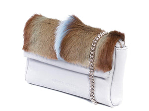 sherene melinda springbok hair-on-hide baby blue leather Sophy SS18 Clutch Bag Fan side angle strap