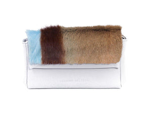 sherene melinda springbok hair-on-hide baby blue leather Sophy SS18 Clutch Bag Stripe front