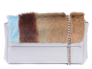 sherene melinda springbok hair-on-hide baby blue leather Sophy SS18 Clutch Bag stripe front strap