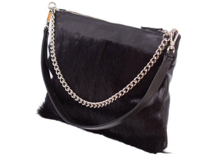 Multiway Springbok Handbag in Black by Sherene Melinda Side Angle Strap