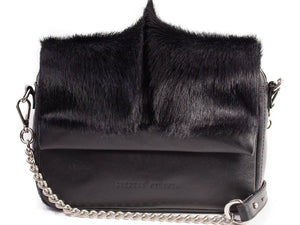 sherene melinda springbok hair-on-hide black leather shoulder bag fan front strap