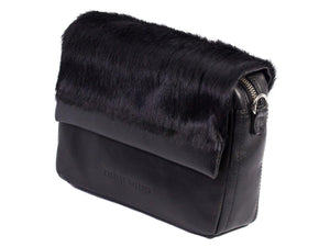 sherene melinda springbok hair-on-hide black leather shoulder bag Stripe side angle