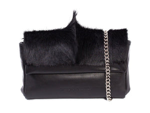 sherene melinda springbok hair-on-hide black leather Sophy SS18 Clutch Bag fan front strap