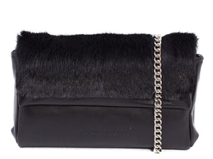 sherene melinda springbok hair-on-hide black leather Sophy SS18 Clutch Bag stripe front strap