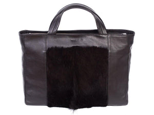 Tote Springbok Handbag in Black with a fan by Sherene Melinda Front