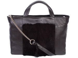 Tote Springbok Handbag in Black with a fan by Sherene Melinda Front Strap