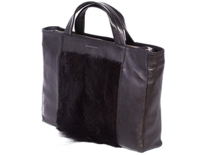 Tote Springbok Handbag in Black with a fan by Sherene Melinda Side Angle