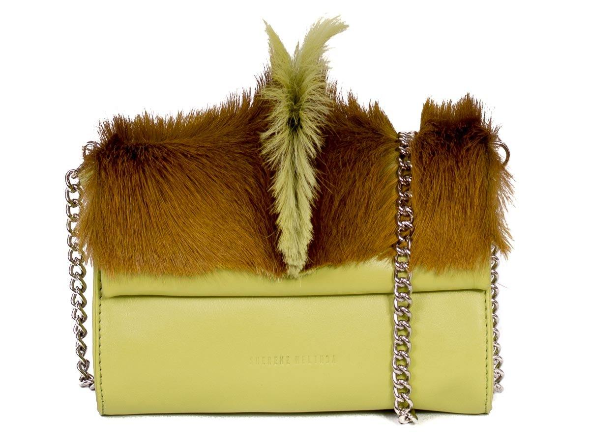 Mini Springbok Handbag in Citrus Green with a Fan by Sherene Melinda Side Angle Strap