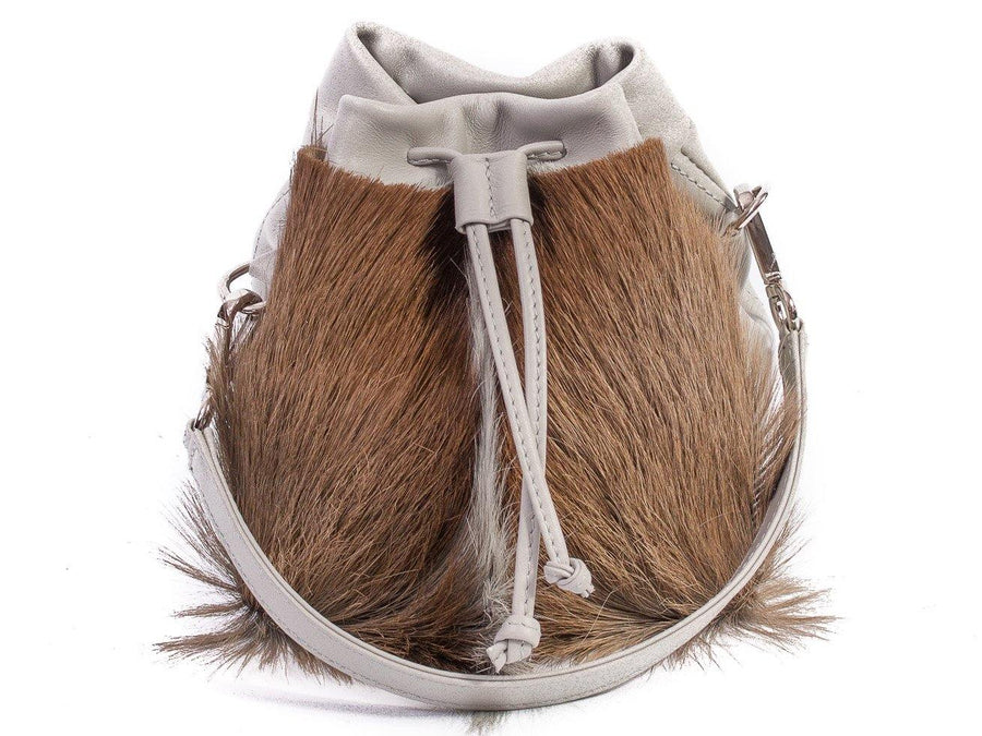 sherene melinda springbok hair-on-hide earth leather pouch bag fan front strap