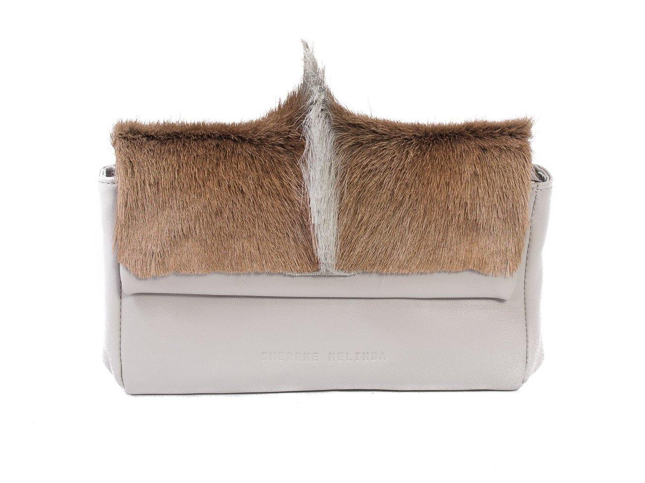 sherene melinda springbok hair-on-hide earth leather Sophy SS18 Clutch Bag fan front strap