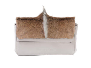 sherene melinda springbok hair-on-hide earth leather Sophy SS18 Clutch Bag Fan front