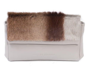 sherene melinda springbok hair-on-hide earth leather Sophy SS18 Clutch Bag Stripe front