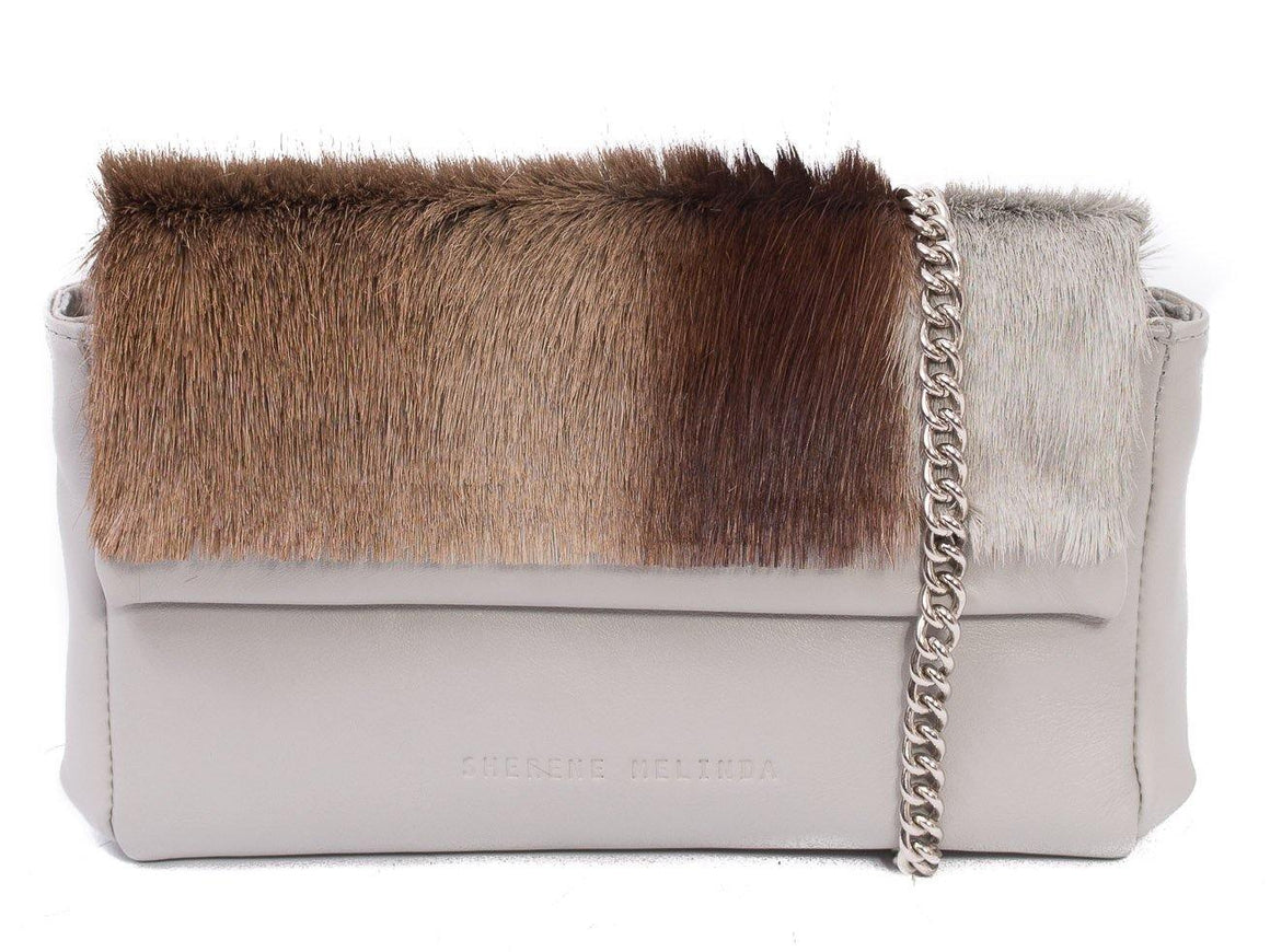 sherene melinda springbok hair-on-hide earth leather Sophy SS18 Clutch Bag stripe front strap