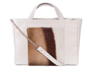 Tote Springbok Handbag in Earth with a Stripe by Sherene Melinda Front Strap
